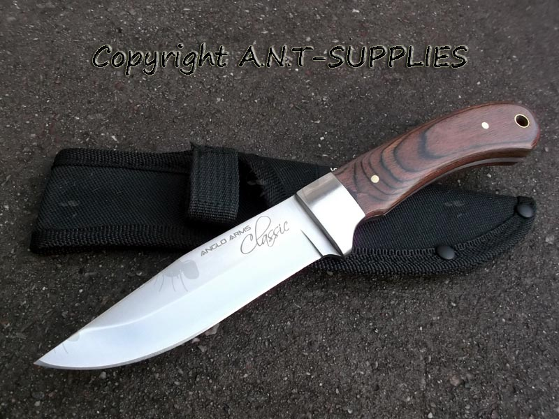 Anglo Arms Classic Hunting Knife Fixed Blade With Wooden