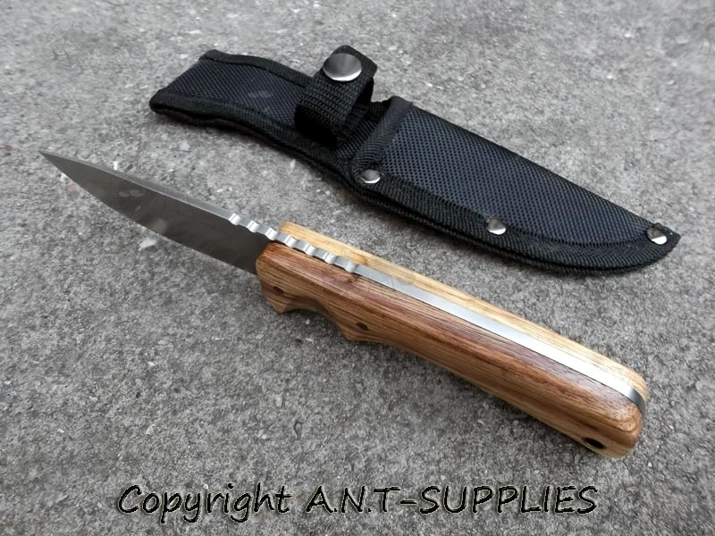 Anglo Arms Zebrawood Bushcraft Knife Camping Fixed Blade