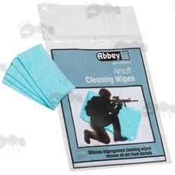 Ten Abbey Airsoft Barrel Blue Cleaning Wipes in Grip Seal Packaging