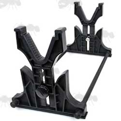 Black Polymer and Aluminium Gun Maintenance Cradle Rest with Adjustable Rack Height