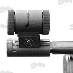 Black Plastic Rail Base Adapter Mount Fitted to the Muzzle End of an Air Arms S410 Barrel