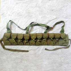 Green Canvas Vietnam Era 10 Cell AK Rifle Ammo Chest Rig