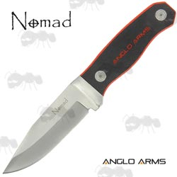 Anglo Arms Nomad Modern Flat Design Bushcraft Knife with Black and Red Handle