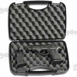 Open View of The AnTac Hard Plastic Pistol Carry Case with Egg Foam Padding
