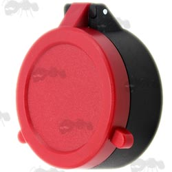 Closed View of AnTac Red Flip-Up Rifle Scope Lens Cover