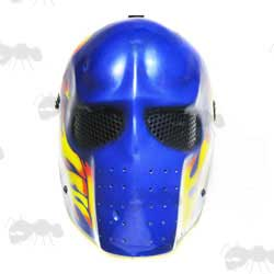 Army of Two Style Fibreglass Salem Airsoft Mask in Blue Gloss Finish with Flames