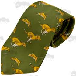 Green Polyester Countryside Tie With Hounds and Hares