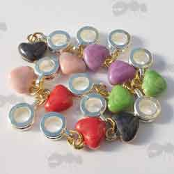 Set of Ten Assorted Colour Heart Shaped Charms For Charm Bracelets