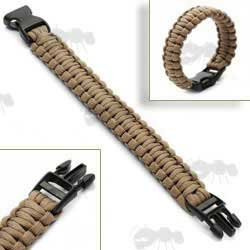 Brown Paracord Survival Bracelet with Quick Release Buckle