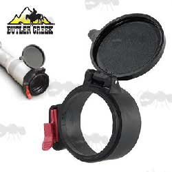 Butler Creek Flip Up Lens Cap on Silver Scope