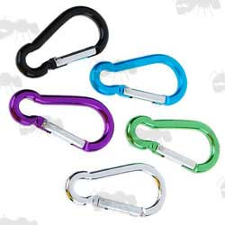 Five Assorted Colours Small Hiking Carabiners