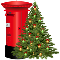 UK Red Letter Box with Christmas Tree