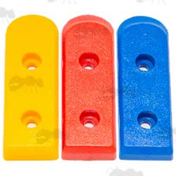 Set of Three Yellow, Red and Blue Plastic Colt 1911 Magazine Base Plates