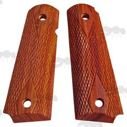 Pair of Full Size Rosewood Wood 1911 Pistol Grips with Textured Finish
