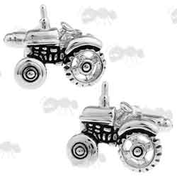 Pair of Silver Coloured Metal Tractor Cufflinks