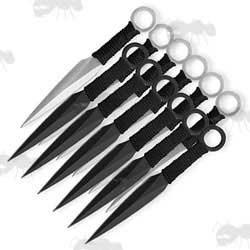 One Dozen Black and Silver Kunai Throwing Knives
