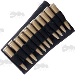 Black Elastic Shotgun Buttstock Cover with One Set of Five Shell Holders