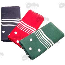 Three White Spotted Enormous Handkerchiefs In Blue, Green and Red
