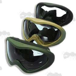 Black, Green and Tan Coloured Falan Swat Style Wide Lens Airsoft Goggles