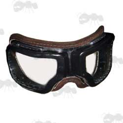 Brown Leather Trim Russian Flying Goggles with Large Glass Lenses