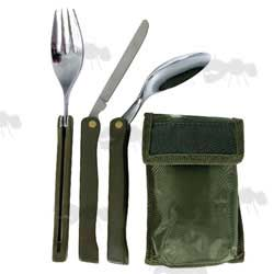 FULPA Green Handle Folding Cutlery Set with Pouch