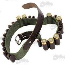 Green Canvas Shotgun Shell Belt with Brown Leather Cartridge Loops