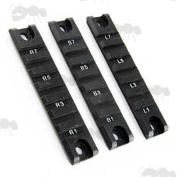 Black, Short 3 Piece Set of 20mm Wide Rails for Handguards on G36C Rifles