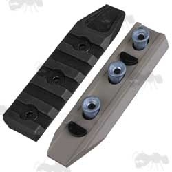 One Black and One Tan Coloured Short Five Slot KeyMod Accessory Rail with Fittings