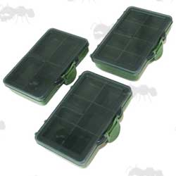 Four, Six and Eight Compartment Small Green Bit Boxes with Clear Lids