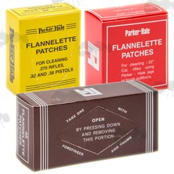 Three Boxes of Assorted Sized Parker Hale Flannelette Gun Barrel Patches