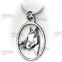Pewter Keyring Horse's Head Badge