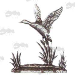 Mini Pewter Sculpture of Duck Taking Off