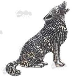 Pewter Pin Howling Wolf Badge