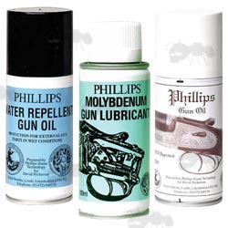 Set of Three Cans of Phillips Gun Oil Aerosol Sprays