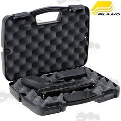 Open View of The Plano Special Edition Single Pistol Case With Black Pistol and Magazine