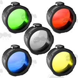 Red, Green, Yellow, Blue and Frosted White Torch Cap Lens Set