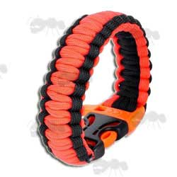 Orange and Black Paracord Survival Bracelet with Emergancy Whistle QR Buckle