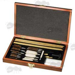 Universal Gun Barrel Rod Mops and Brushes Cleaning Kit in a Wooden Storage Box