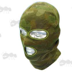 Woodland Camo Three Hole SAS Style Double Layered Knitted Acrylic Balaclava