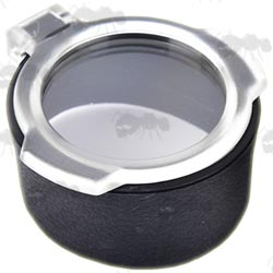 Large Black Flip-Up Lens Cover with See-Through Clear Lid for Telescopic Rifle Scopes