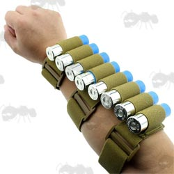 Coyote Tan Forearm Fitting Elasticated Shotgun Shell Holder