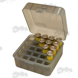 MTM Clear Plastic Shell Box for 25 Cartridges