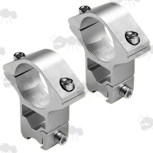 Pair of See-Thru Design High Profile Silver 25mm Scope Rings for Dovetail Rails