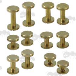 Set of Six Pairs of Assorted Sizes of Brass Chicargo Studs with Flat Heads