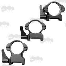 Low, Medium and Low Profile 30mm Diameter Steel Scope Rings with Lever Lock for Weaver Rails