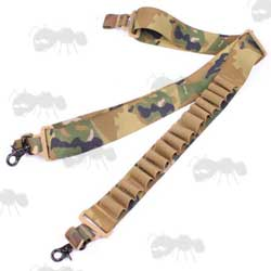 Multicamo Coloured Tactical Shotgun Sling with Fifteen Cartridge Holder Loops