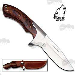 Timber Wolf Blazin' Knife with Wooden Handle, German Steel Blade and Leather Sheath
