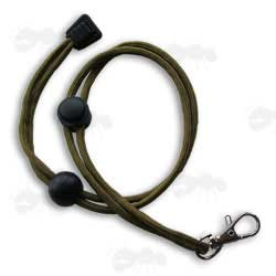 Olive Green Cord Torch Lanyard with ABS Adjustable Buckles and Steel Clip