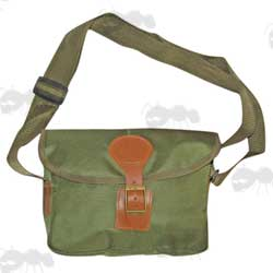 Green Canvas and Brown Leather Fitting Shotgun Cartridge Bag