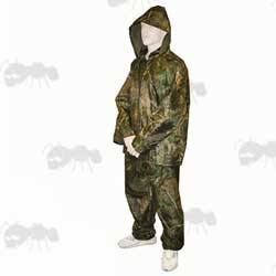 Two Piece Waterproof Camo Suit on Mannequin ~ Jacket and Trousers